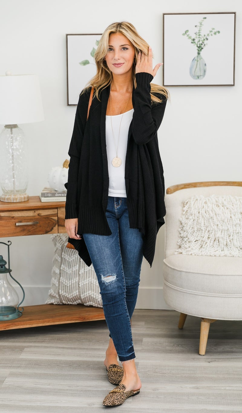 By The Fire Cardi, Black or Burgundy