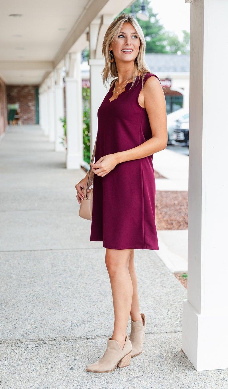 On A Mission Dress, Burgundy