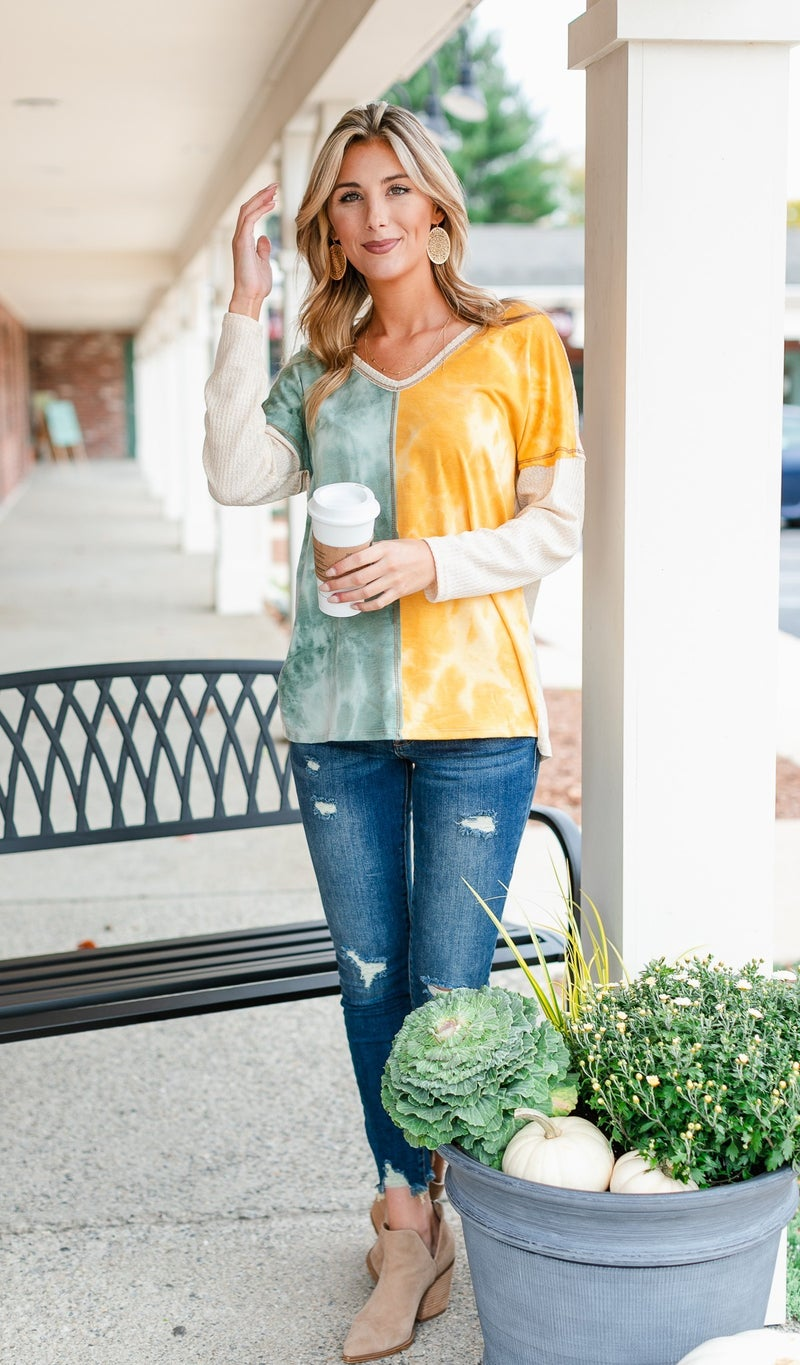Midnight Dreaming Tie Dye Top, Yellow