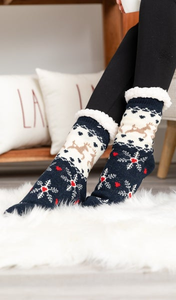 Festive Sherpa Lined Socks, Red or Navy