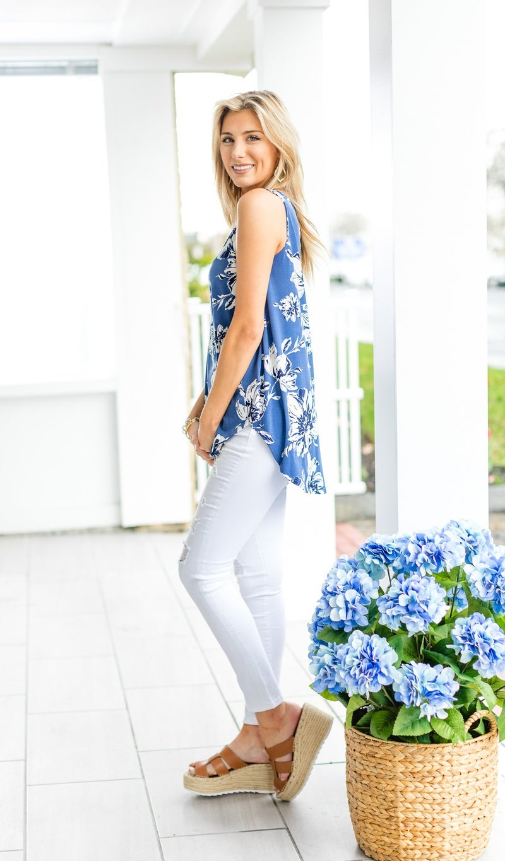 Let Go Tank, Blue Floral