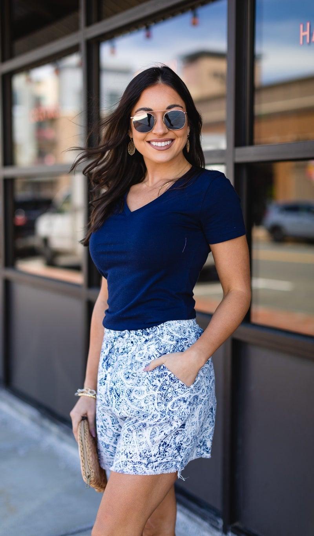 The Marina Shorts, Blue Paisley