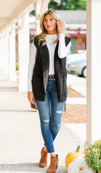 Feel Warmth Sherpa Vest, Black or Stone