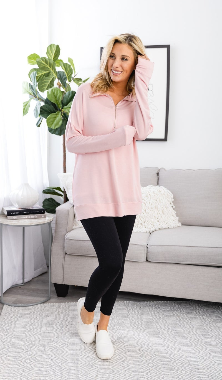 The Edgartown Zip Up, Pink Blush