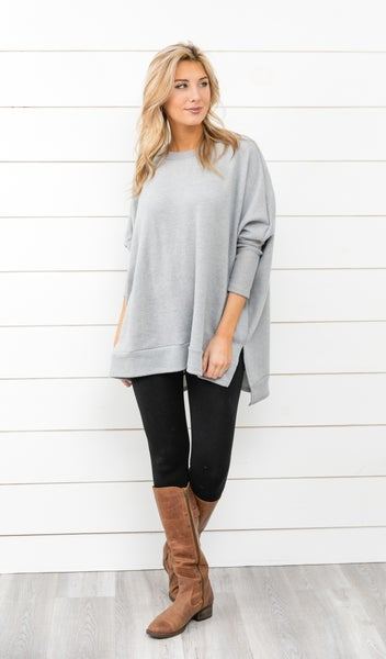 The Cassie Sweater, Heathered Grey *Final Sale*