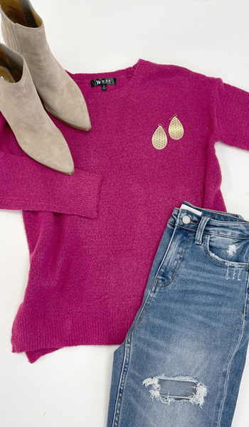 Self Care Sweater, Magenta