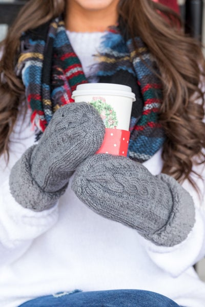 Winter Cable Knit Mittens, Black or Grey