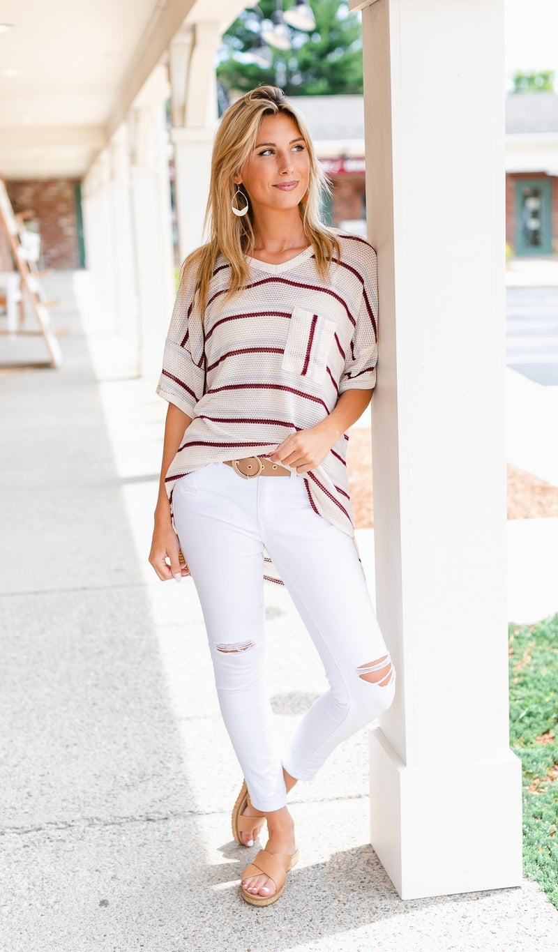 August Stoll Tunic, Oatmeal Stripe