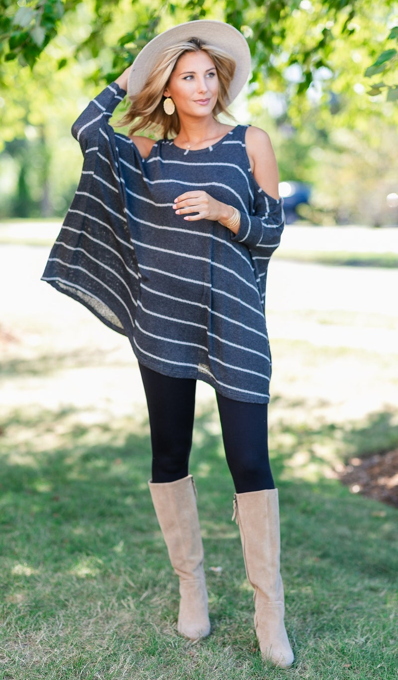 All time Striped Tunic, Charcoal