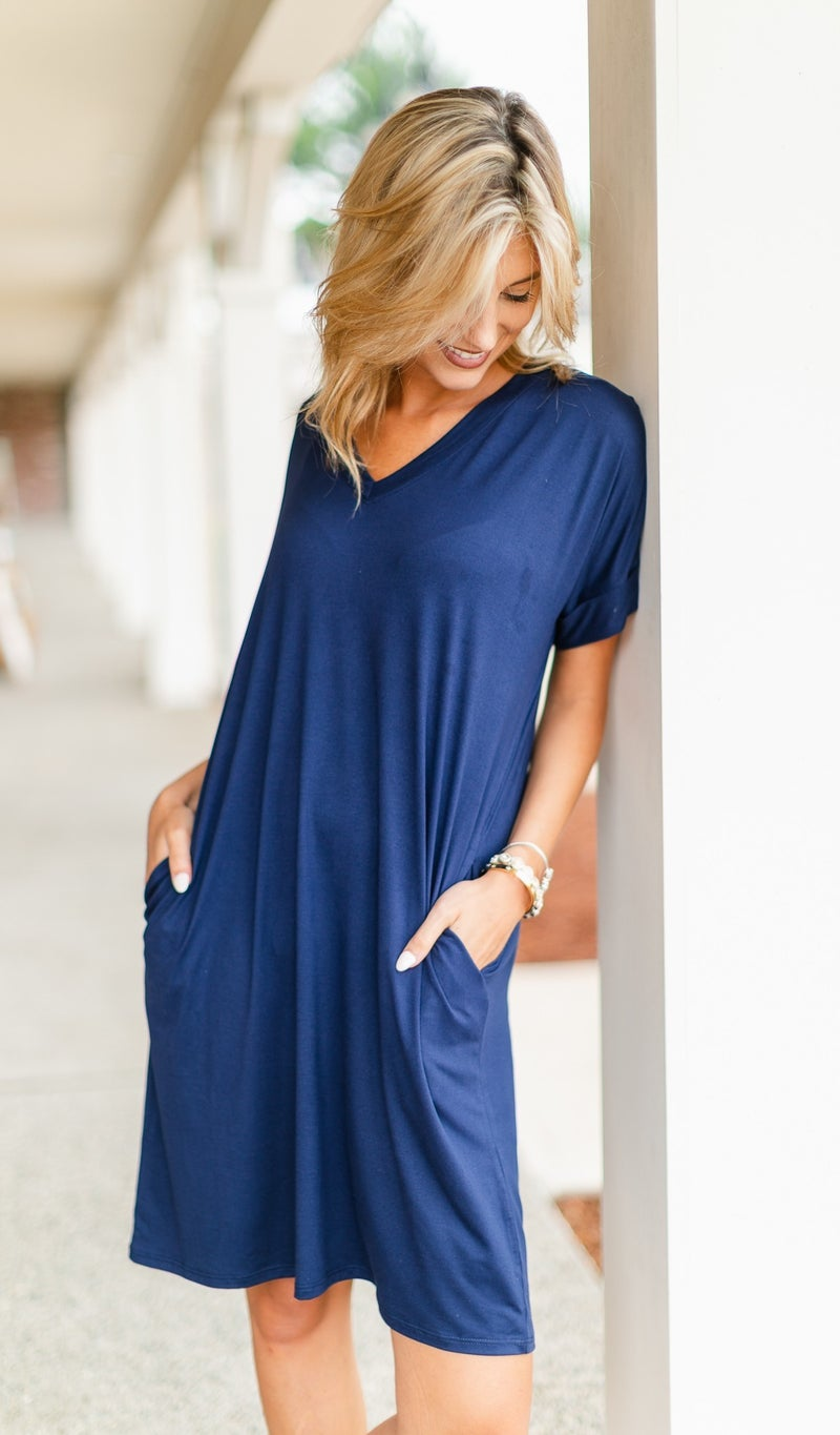 On The Go T-Shirt Dress, Navy