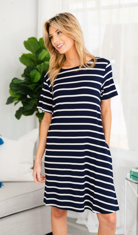 Sunsational Striped Dress, Navy