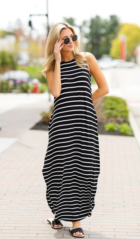 Take Me With You Striped Maxi- Black & Ivory