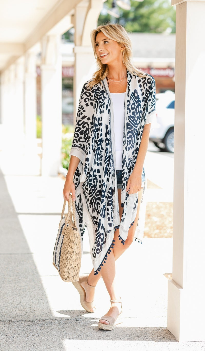 All Day Chic Kimono, Navy New