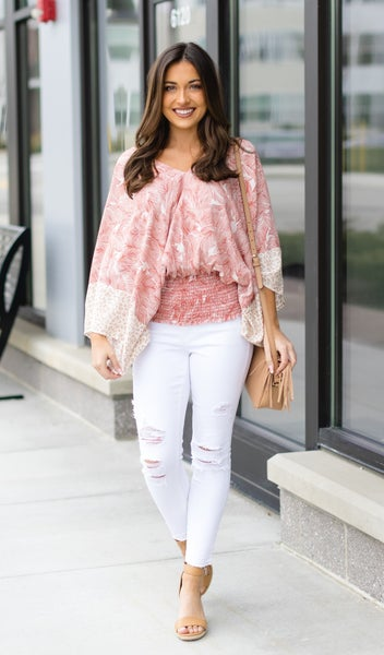 Sun Rays Blouse, Coral