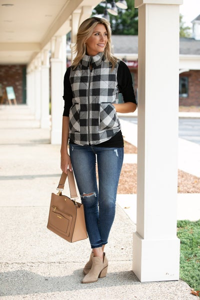 Orchard Ready Plaid Vest, Ivory