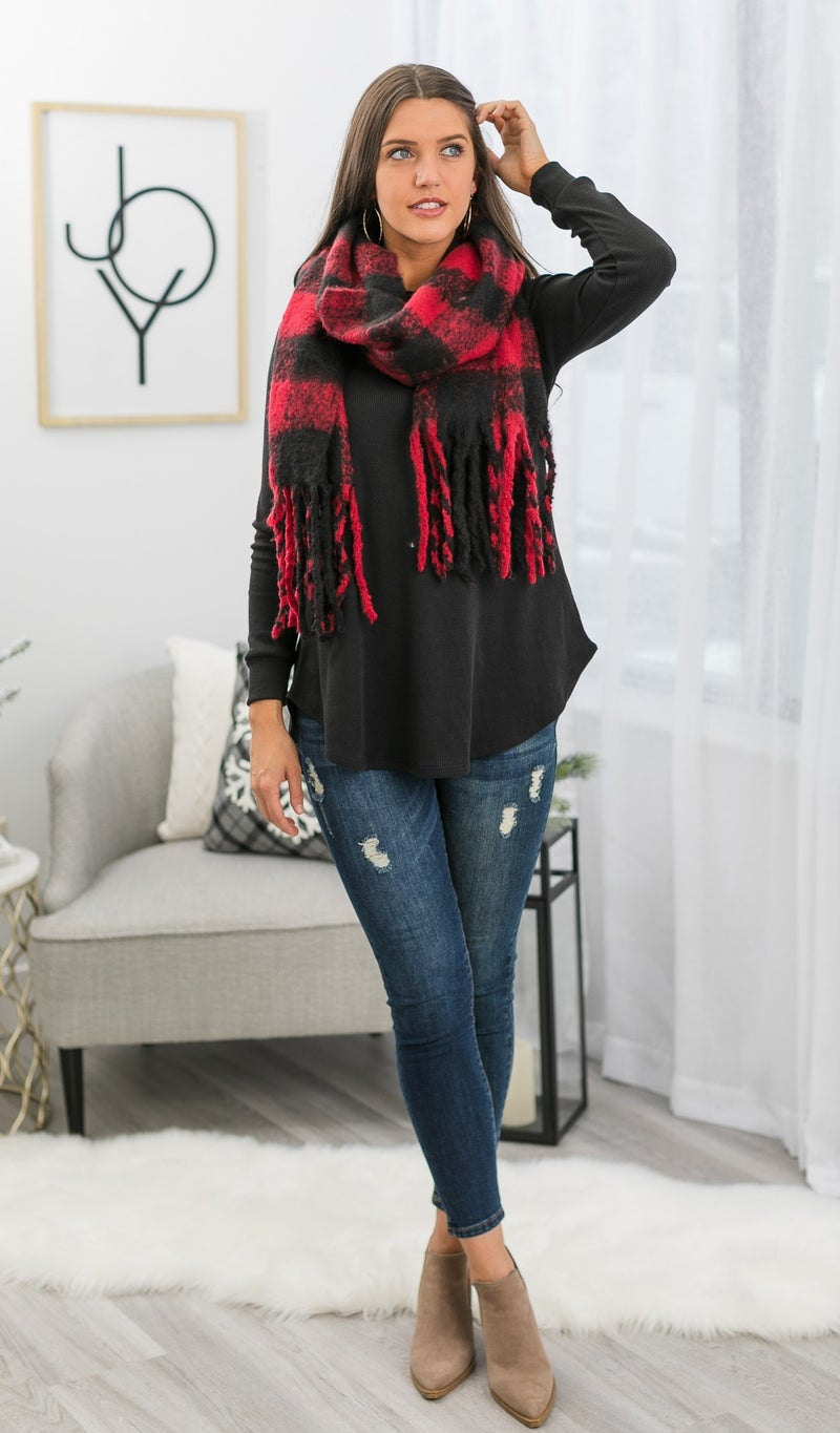 Toasty Vibes Scarf, Red