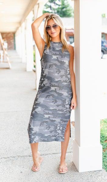 The Camo Midi Dress, Grey