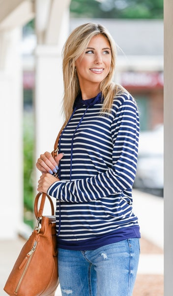 On The Go Pullover, Navy/Ivory Stripe