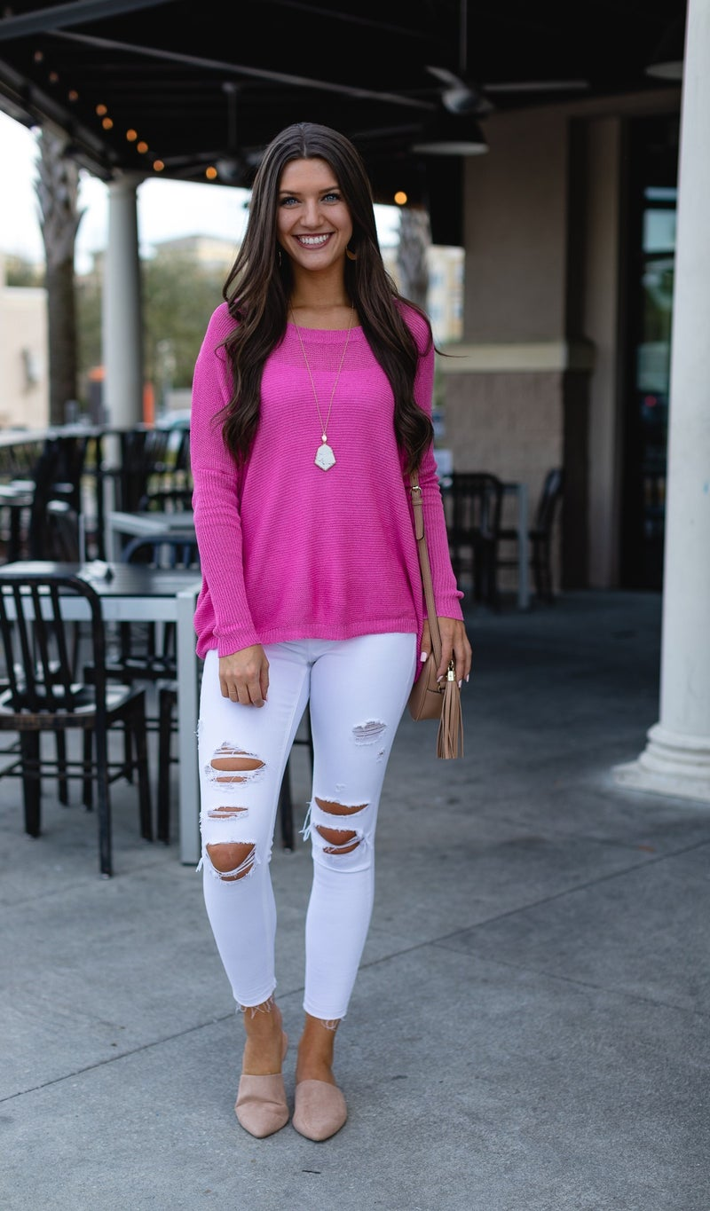 Simply the Best Lightweight Sweater, Hot Pink or Blue