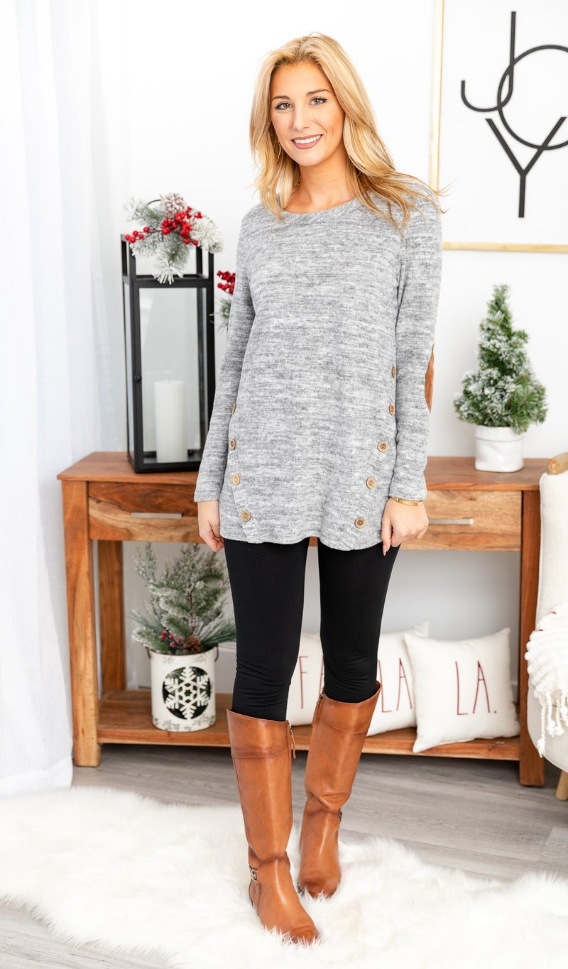 DOORBUSTER!!!  Emerson Knit Tunic, Grey or Burgundy
