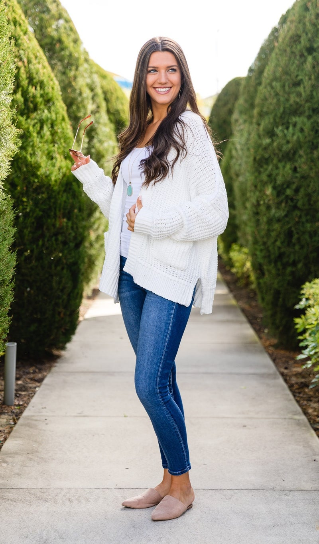 Chunky Knit Cardigan, White