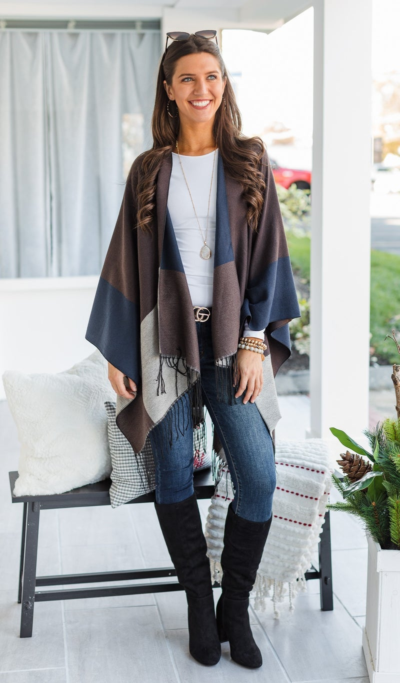 The Erica Shawl, Navy & Brown