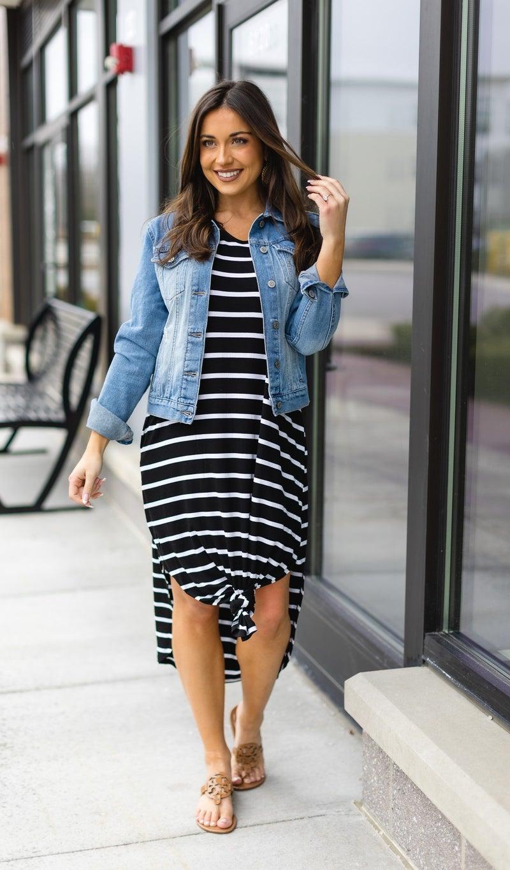 Forever Yours Dress, Black Stripe