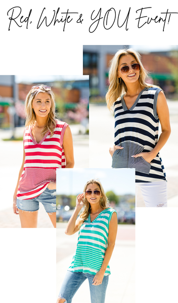 The Ariel Tank, Mint, Pink or Navy