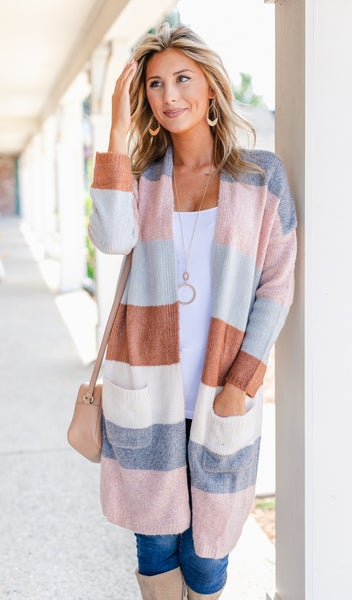 Eclipse Color Block Cardigan, Multi Color