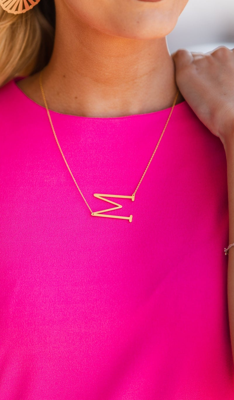 Monogram Lover Necklace, Gold