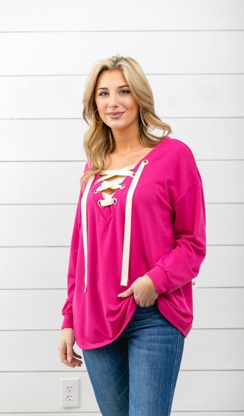 Winter Favorite Lace Up Top, Pink