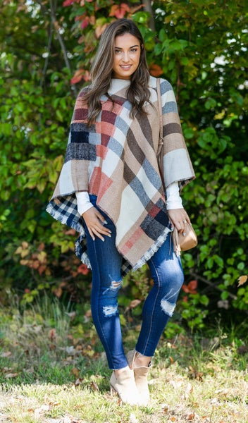 Colors of Fall Favorite Poncho in Tan