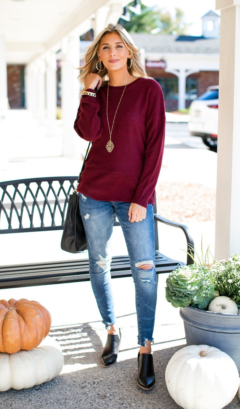 All Time Favorite Sweater, Black or Burgundy