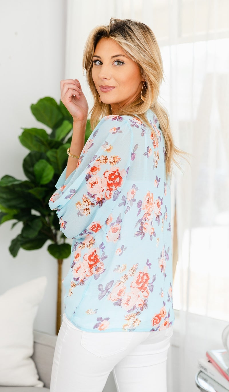 'Till Tomorrow Floral Kimono, Sky Blue