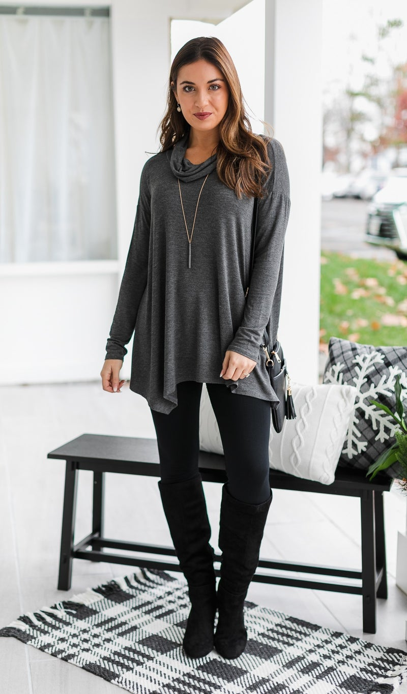 The Pia Top, Charcoal