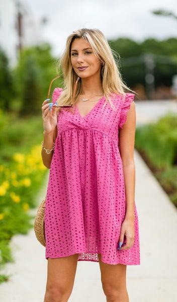 The Isla Eyelet Dress, Hot Pink