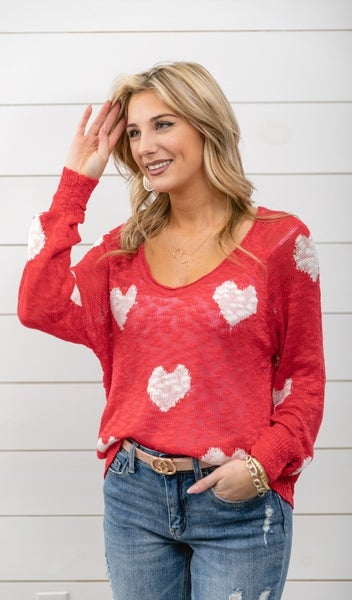 Whole Heart Sweater, Red *Final Sale*