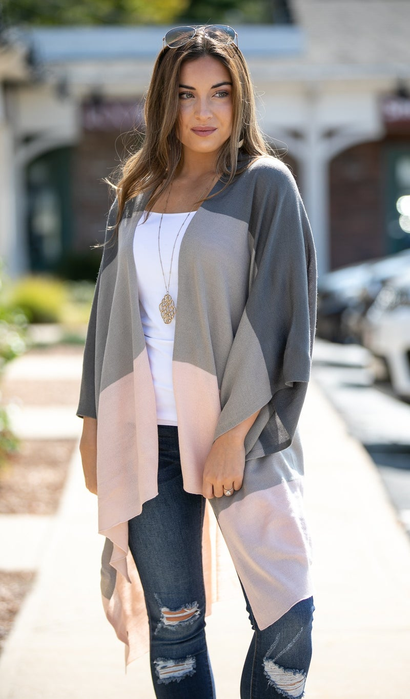 Made For You Ruana, Grey Color Block