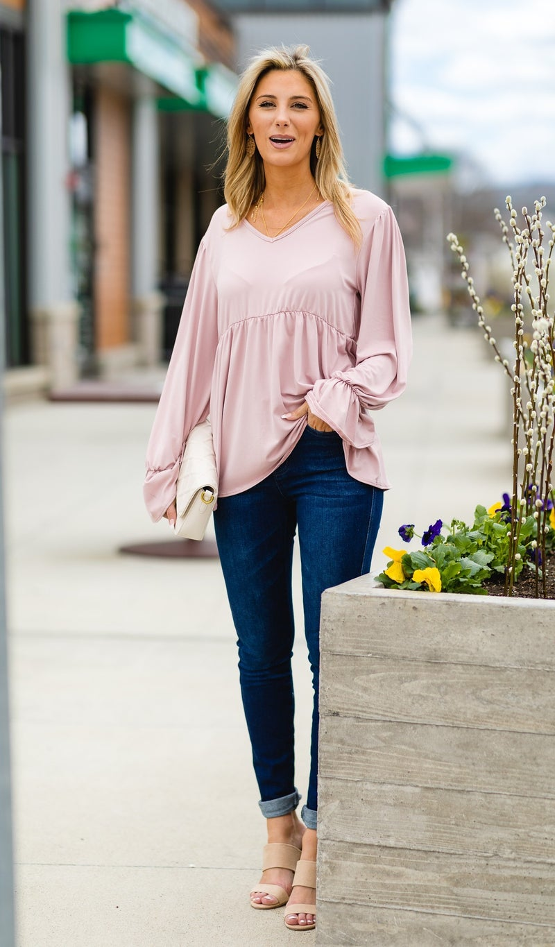 The Angelica Top, Pale Mauve