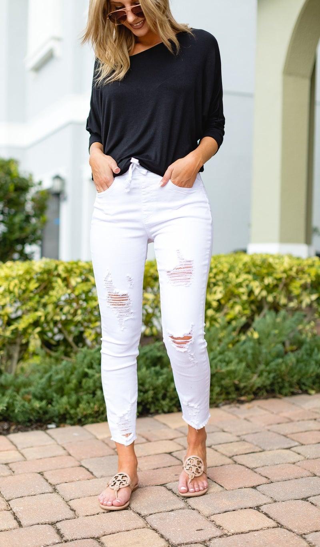 The Nina Jogger Jean, White