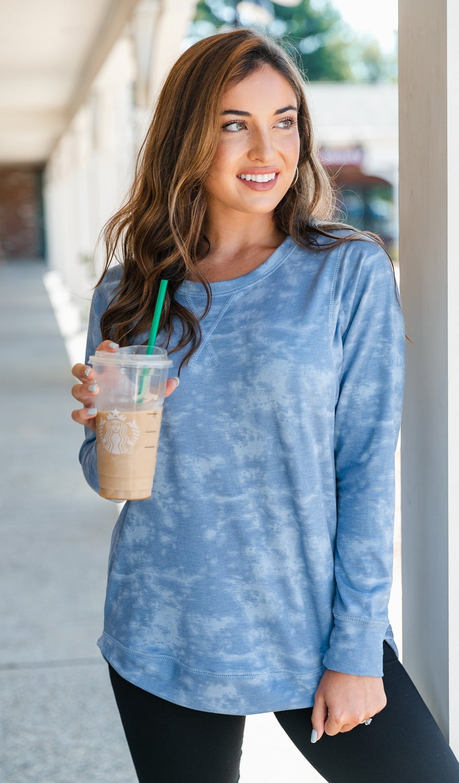 Olivia Pullover, Washed Blue