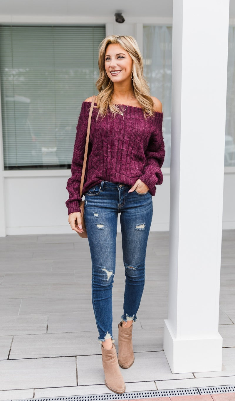 Knit For You Sweater, Burgundy