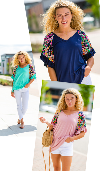 Bright Idea Top, Mint, Navy, Or Light Pink