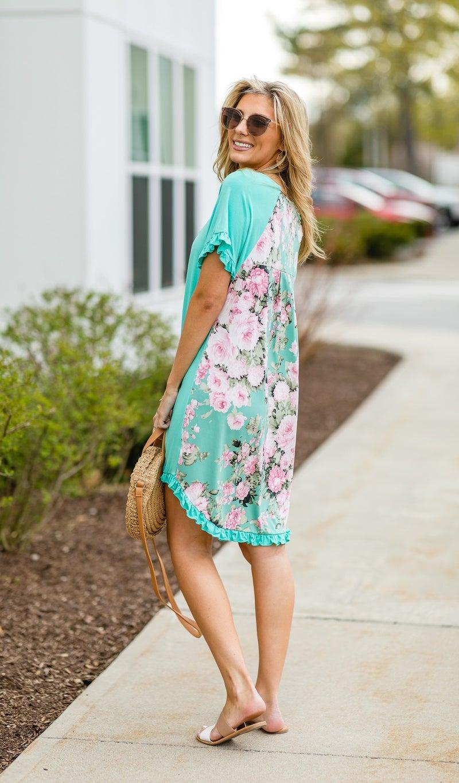 Flower Fields Dress, Mint