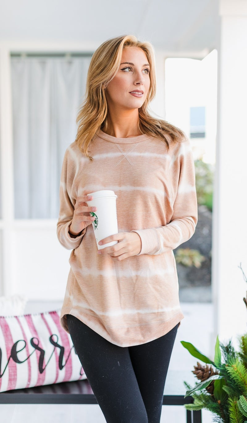 Spellbound Tie Dye Tops, Taupe or Charcoal