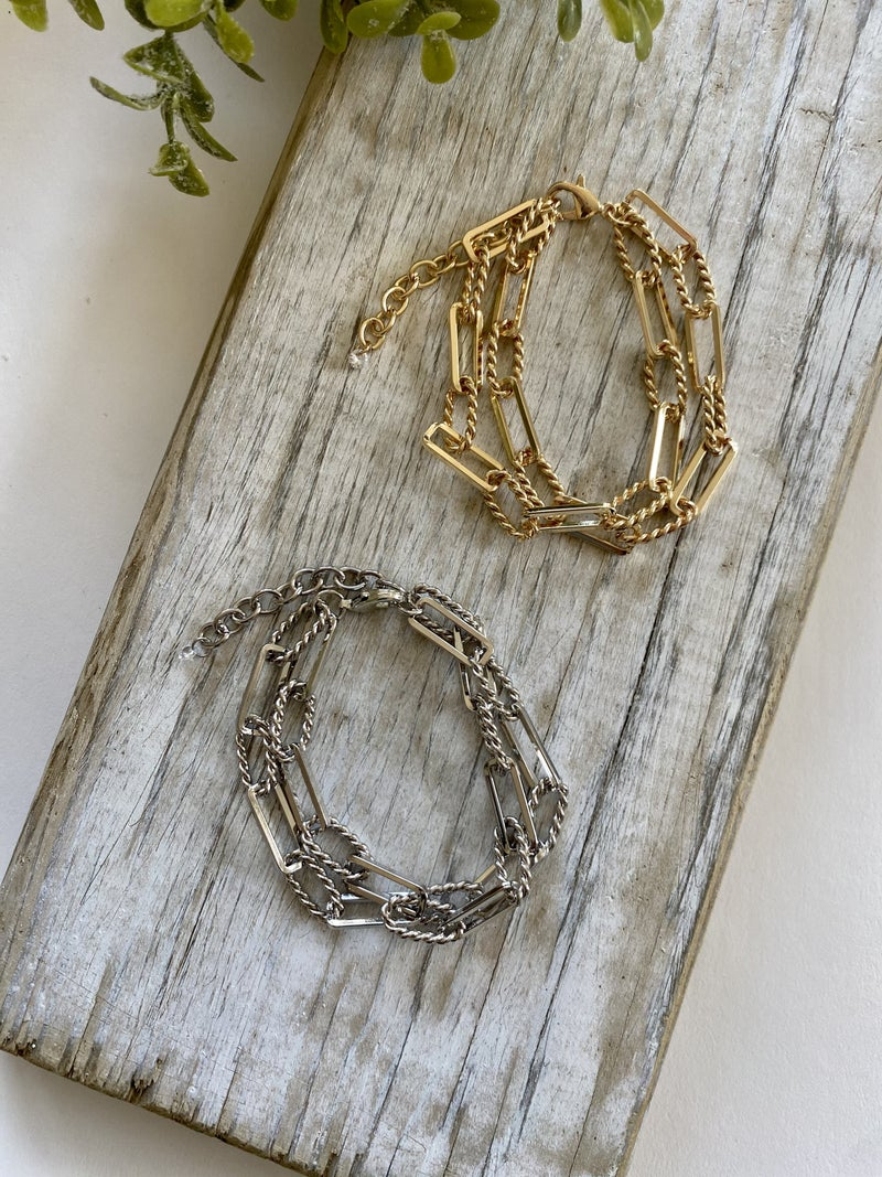 Link Chain Bracelet, Silver or Gold