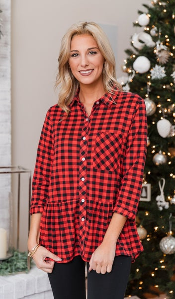 Beverly Plaid Shirt, Red