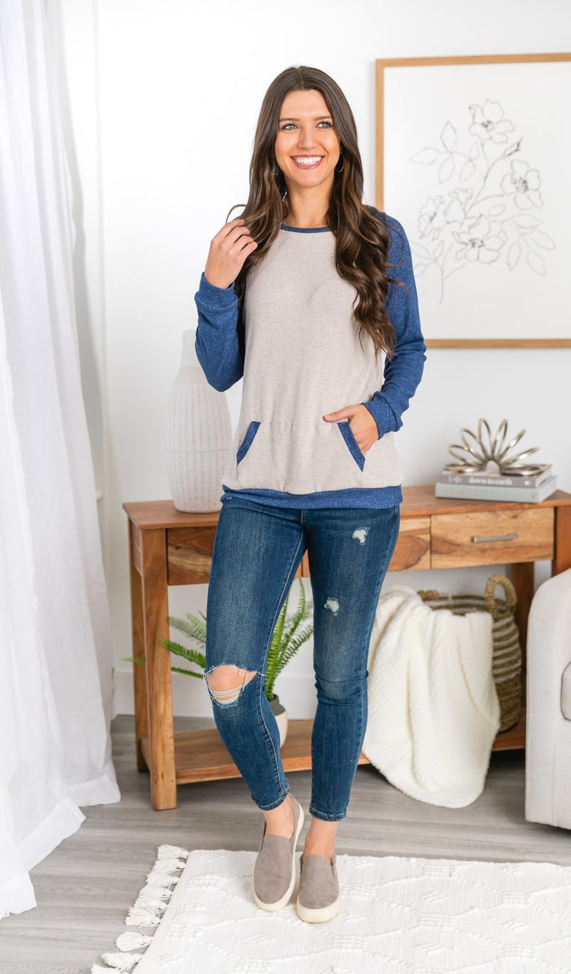 Winter Wonderland Top, Blue & Grey