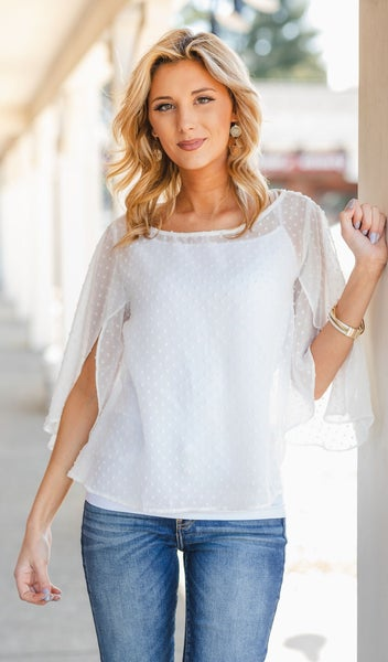 Distracted By You Top, White