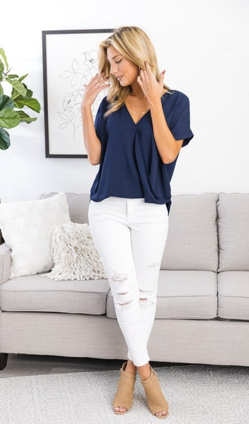 Monday Meeting Top, Navy